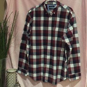 Long sleeve checkered top size XL